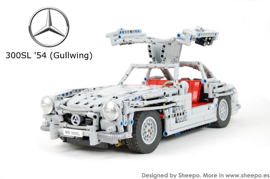A working 1954 Mercedes-Benz 300SL Gullwing    made of LEGO
