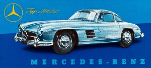 The Mercedes-Benz 300 SL Gullwing. The in-line six-cylinder engine had top speeds up to 161 mph. Source: Mercedes-Benz USA